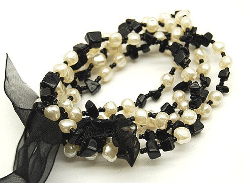 Genuine Black Gemstone and Glass  Pearl Ribbon 5 Strands Stretch Bracelet BR25