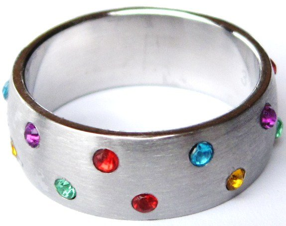 Rainbow Gay Pride Stainless Steel Ring SSR13  Sz 13