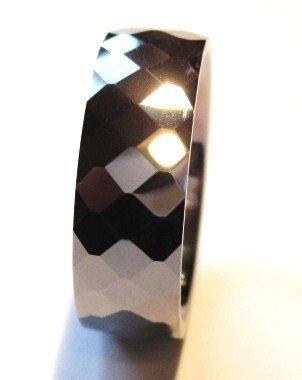 High Polish Faceted Tungsten Carbide Ring TU3031