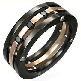 Black CZ Copper Chunky Stainless Steel Statement Ring SSR1944 Size 7