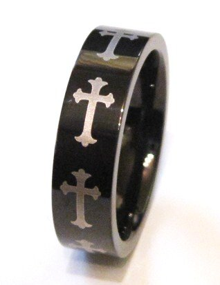 Black Stainless Steel Cross Ring SSR1337