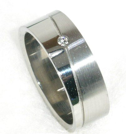High Polish Matte Finish CZ Stainless Steel Ring SSR28