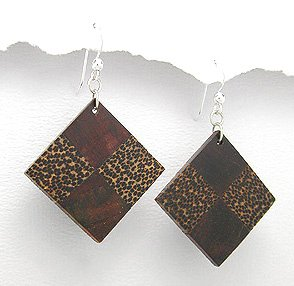 Exotic Wood Dangle Earrings 925 Sterling Silver Hooks EA78