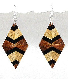 Exotic Wood Dangle Earrings 92.5 Sterling Silver Hooks EA77