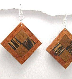 Exotic Wood Dangle Earrings 925 Sterling Silver Hooks EA71