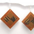 Exotic Wood Dangle Earrings 925 Sterling Silver Hooks EA71