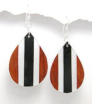 Exotic Wood Dangle Earrings 925 Sterling Silver Hooks EA75