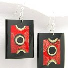 Exotic Wood and Coral Dangle Earrings 925 Sterling Silver Hooks EA76