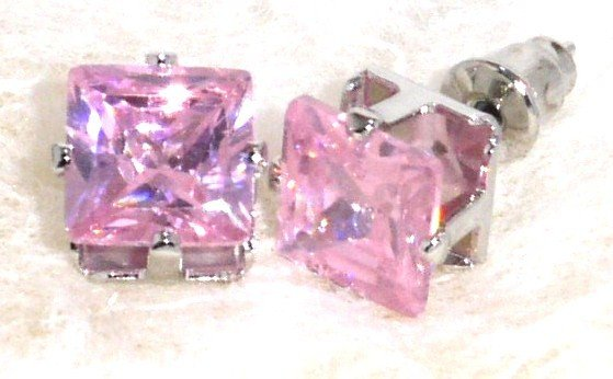 6mm Sparkling Square PINK Faceted CZ Stud Post Earrings EA203 PK