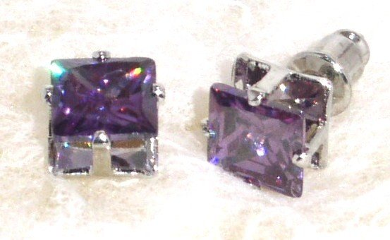 6mm Sparkling Square PURPLE Faceted CZ Stud Post Earrings EA204 PUR