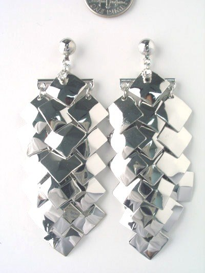 "Unique Linear Drop Silver Chip Dangle Earrings, 2.5"" EA17"