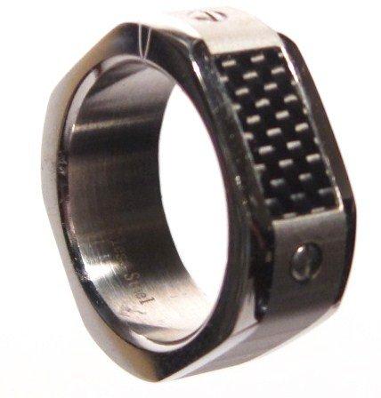 Men's Carbon FIber Stainless Steel Ring SR1866 Sz 6.5 - 7 - 8 - 9 - 10 - 11 - 12