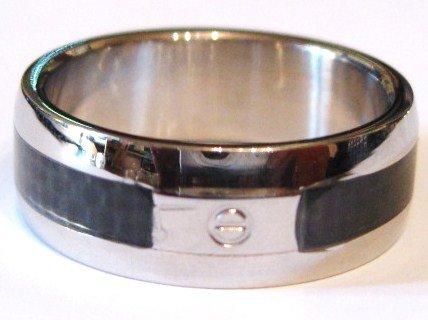 8mm Men's Black Carbon FIber Screw Stainless Steel Ring SSR1566