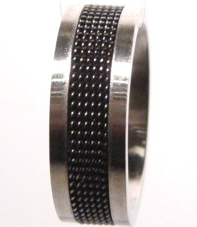 Black Mesh Strip Stainless Steel Ring SSR1757 Sz 9.5