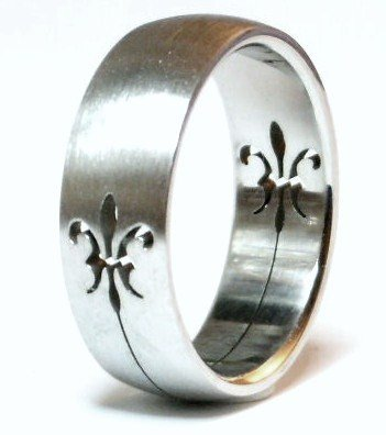 Fleur de Lys Laser Cut Stainless Steel Ring SSR47