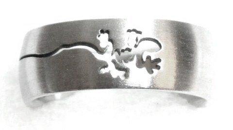 Laser Cut Lizard Stainless Steel Ring Sz  9