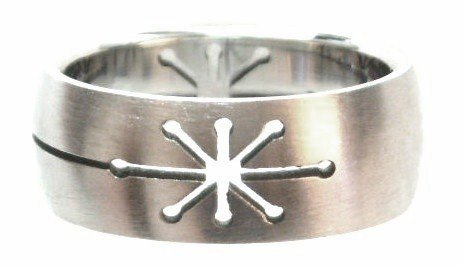 Laser Cut Star Stainless Steel Ring SSR44
