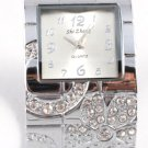 Clear Crystal Silver Chunky Cuff Watch WW129