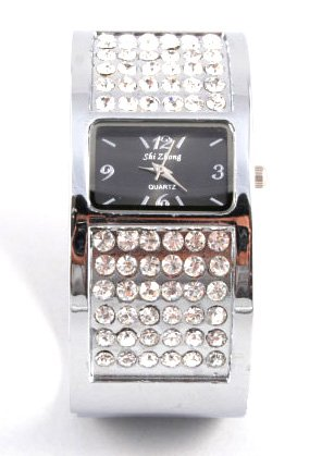 Chunky CZ Silver Cuff Fashion Watch WW122