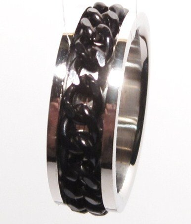Black Chain Spinning Stainless Steel Ring SSR1167 Sz 9