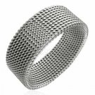 Unisex 8mm Flexisble MESH Stainless Steel Band Ring SSR527 Sz 8 or 9