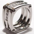 12mm Square Stainless Steel Clear CZ Band Ring SSR1049 Sz 5.5
