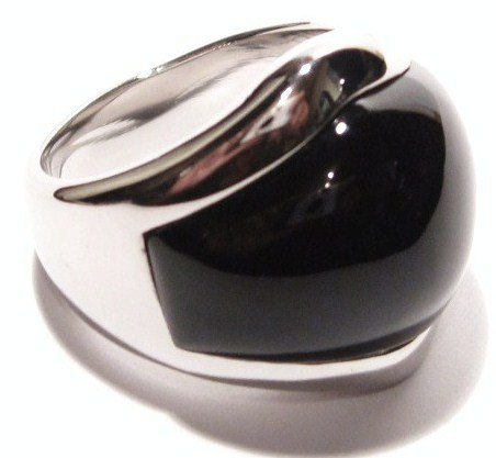 Chunky Black Onyx Stainless Steel Ring SSR1442 Sz 7
