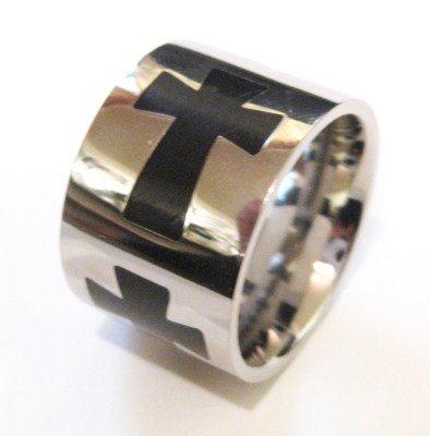 15mm Unisex Black Cross Stainless Steel Ring SSR1971 Sz 7.5