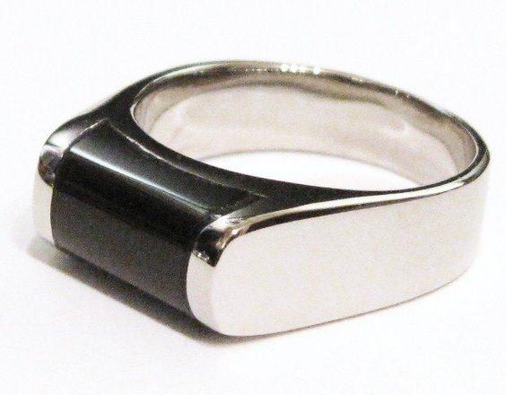 Black Onyx High Polish Unisex Stainless Steel Ring SSR1004
