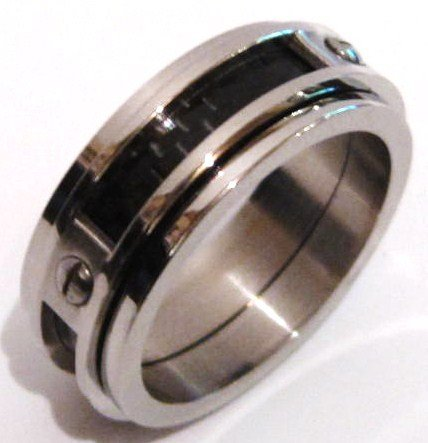 8mm Black Carbon FIber Stainless Steel Ring SSR2344 Sz 6, 7, 9