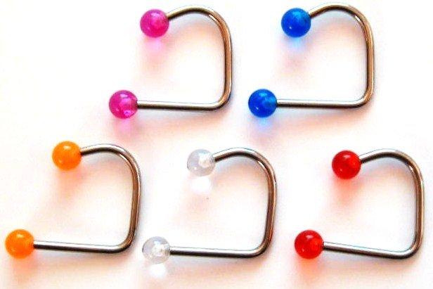 5 Assorted Colors 5mm UV Ball Lip Loop Labret Wholesale Lot BJ132