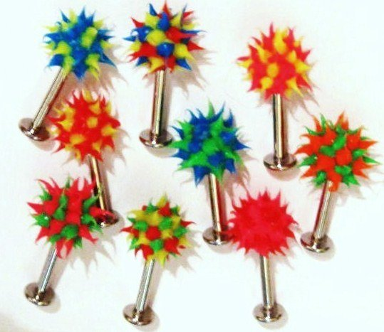 4 Assorted Multicolor Koosh Ball Lip Chin Labret Wholesale Lot BJ128