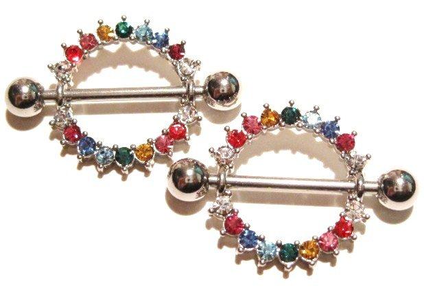 2 Rainbow Gay Pride Multicolor Crystal Nipple Shield Rings BJ62