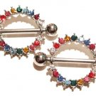 2 Rainbow Gay Pride Multicolor Crystal Nipple Shield Rings BJ62