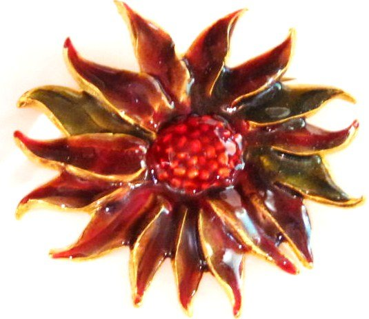 "2.5"" Beautiful Red Sunflower Enamel Brooch Pin Broach, BP64"
