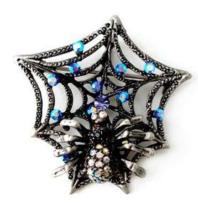 Crystal Spider Web Antique Black Metal Brooch Pin Brooch  BP42