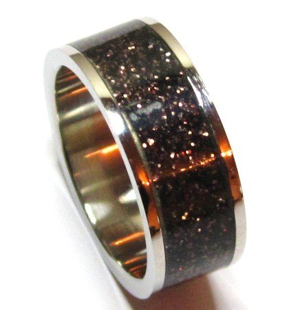 Unisex 8mm Sparkling Black/Copper Glitter Stainless Steel Ring SSR1794 Sz 8