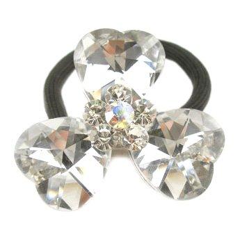 """Sparkling Faceted Heart Shape Crystal Flower Ponytail Holder Elastic Band, 1.75"""" MSC5"""
