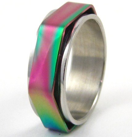 Shiny Rainbow Hexagonal Spinning Stainless Steel Ring SSR35 Sz 9