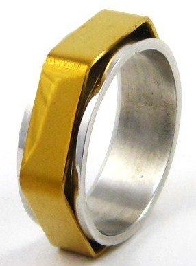 Gold Hexagonal Spinning Stainless Steel Ring SSR36 Sz 9