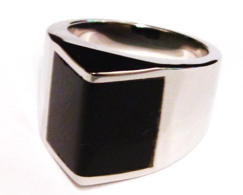 Black Onyx Stainless Steel Chunky Statement Ring SSR1493 Sz 7