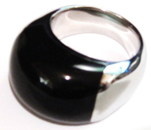 Chunky Black Onyx Stainless Steel Statement Ring SSR1776 Sz 10, 11