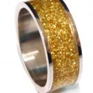 Unisex Gold Glitter Stainless Steel Band Ring, SSR1792
