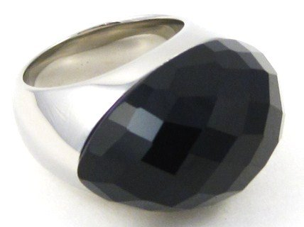Chunky Faceted Black Onyx Stainless Steel Statement Ring SSR1901 Sz 6