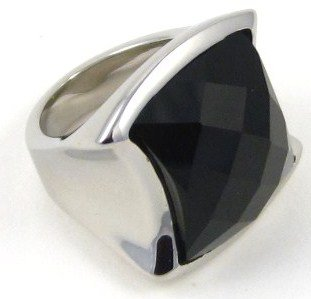Unisex Black Onyx High Polish Stainless Steel Ring SSR2219