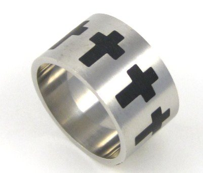 15mm Men's Black Cross Stainless Steel Ring SSR2255 Sz 10, 11