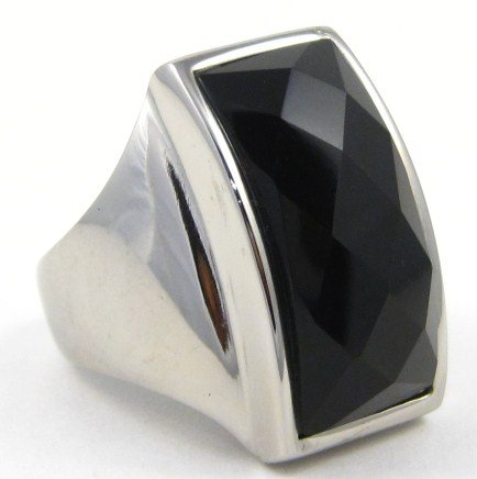 Chunky Faceted Black Onyx Stainless Ring SSR2387  Size 6.5