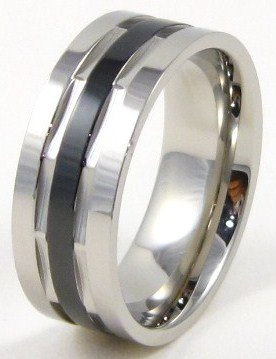 Unisex High Polish Black Stripe Stainless Steel Ring SSR4308