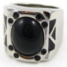 Unisex High Polish Black Onyx Stainless Steel Ring SSR4390