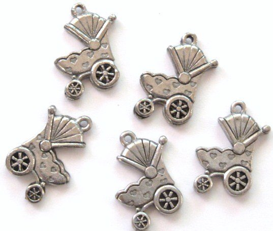 5 Adorable Baby Carriage Pewter Charms Wholesale Lot